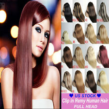 Real True AAAAAA Clip In Remy Human Hair Extensions Full Head Amazing Cheap C381