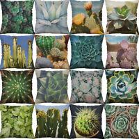 Cactus Succulent  Cotton Linen pillow case  throw sofa cushion cover Home Decor