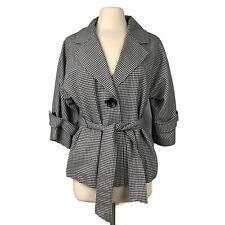 MAC AND JAC Black White Houndstooth Wool Blend Belted Jacket Size Large
