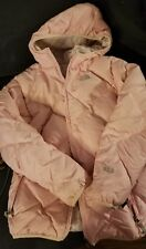 The North Face Girl's Pink/Plaid 550 Reversible Down Puffer Jacket Size XL