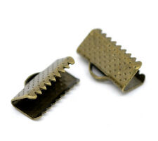 100 Bronze Tone Textured End Caps Crimp Beads 13x8mm