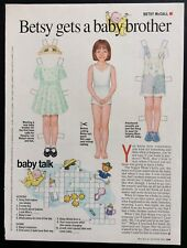 Vintage Betsy McCall Mag. Paper Doll, Betsy Gets a Baby Brother, Aug. 1995