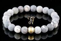 Jaspis 925er sterling Silber vergoldet Armband Bracelet Perlenarmband weiß grau