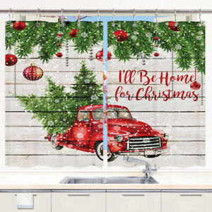 Red Christmas Ball and Truck Kitchen Curtains 2 Panel Set Decor Window Drapes