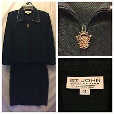 St. John 12 Green Suit Hunter Zipper Leather Edging Formal Diamond Knit Knee