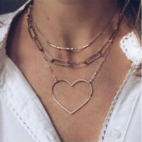Boho Women Simple Vintage Heart Pendant Multilayer Gold Chain Necklace Gifts NEW