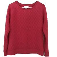 Liz Claiborne Women's Hot Pink Sweatshirt Top Sweater Small Dotted Textured NWT