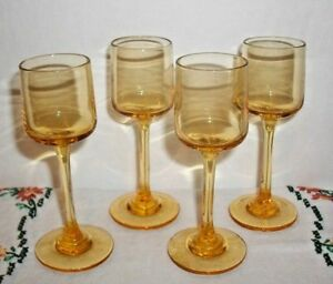 4 AMBER CORDIALS~APERTIF GOBLETS~LIQUER~WINE~SHERRY~LONG STEMS~YELLOW GOLD COLOR