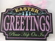 Black Wood Easter Greetings Pink Blue Green Bunny Hanging Sign Decoration