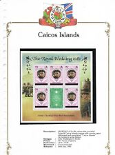 24/7/1981 SHEETLET OF 5 90c + LABEL MINT CAICOS ISL. ROYAL WEDDING STAMPS