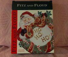 "Nib Fitz Floyd 3D Classics Santa Wreath Ho Ho Ho Plate Or Wall Hanging 8"" x 9"""