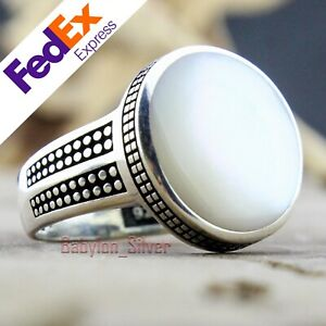 Natural mother of pearl 925 Sterling Silver Turkish Handmade Men's Ring All Size