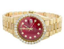 18K Mens Yellow Gold Rolex President Day-Date 36MM Red Dial Diamond Watch 9.5 Ct