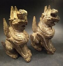 Antique Pair of Wooden Dragon Figures - Thailand - 18th/19th Century