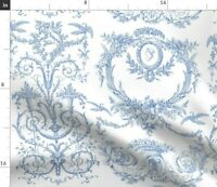 Birds French Toile Rococo Blue And White Flowers Spoonflower Fabric by the Yard