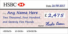 LARGE Personalised HSBC BANK Cheque for Charity / Presentation / Fundraising