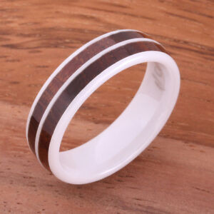 High Tech White Ceramic Koa Wood Ring Double Row Wedding Ring 6mm TUR4020