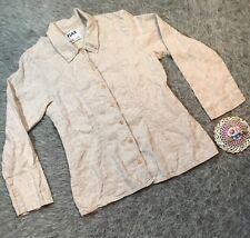 FLAX by Jeanne Engelhart Long Sleeve Linen Button Front Top Shirt Petite P Tan