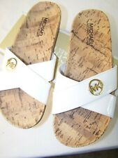 Michael Kors Sandals sandy Flats flip flops white with MK logo New 5