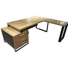 Executive Corner Office Desk 1.8m Stunning Teak Veneer Finsh Black Steel Legs