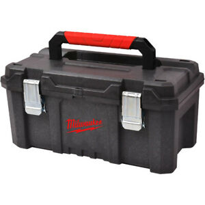 Milwaukee Black Toolbox, Red Rubber Grip Handle, Inner Tray, Dual Locking Clip