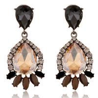 1Pair Brown Resin Crystal Eardrop Ear Stud Elegant Women Earring Fashion Jewelry