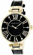 Anne Klein Womens Gold-Tone Black Mother-Of-Pearl Dial Leather Dress Watch