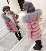 Kids Girls Thick Velvet Quilt Jacket Fur Collar Long Parka Coat Overwear Winter