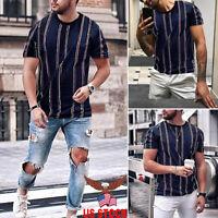Men's Summer Dress O Neck Slim Fit T-shirt Striped Short Sleeve Casual Tee Tops