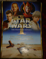 "Star Wars # 104 Video lanzamiento cartel, inusual, enorme, 27.5 ""x19.5"" Phantom Menace"