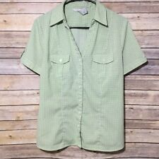 FRED DAVID Women's Blouse Size Large stretch short sleeve polyester green vneck