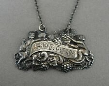 Vintage Sherry Sterling Silver Ornate Liquor Decanter Bottle Label Hang Tag