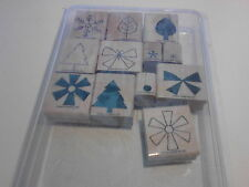 Stampin Up 2004 Shapes & Shadows 2 Step Set 12 Wood Mounted Rubber Stamps -New
