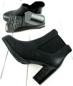 Womens Faux Leather Mid Block Heel Smart Chelsea Ankle Biker Boots Shoes Sizes