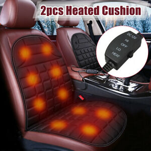 2PC 12V SUV Truck Car Seat Heater Heating Heated Cushion Warmer Cover Pad Black