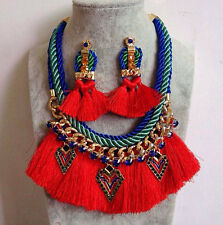 Fashion Bohemia Ethnic Weave Multilayer Rope Charms Red Thread Tassels Necklace