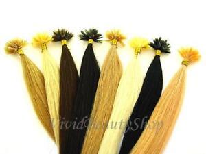 "50 U Nail Tip Pre Bonded Keratin Glue Fusion Long Remy Human Hair Extensions 22"""