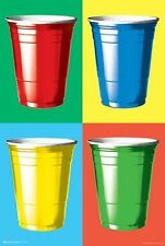 PARTY CUPS POSTER - 24x36 SHRINK WRAPPED - COLORS COLLEGE BEER PONG DORM 9760