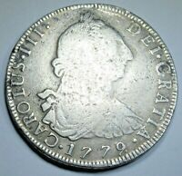 1779 Spanish Bolivia Silver 8 Reales Antique 1700's Colonial Dollar Pirate Coin
