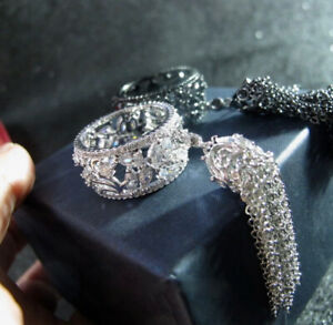 18k White Gold GF Long Fringe Tassel Ring made w Swarovski Crystal Topaz Stone