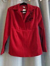Motherhood Maternity Red Long Sleeve Velvet Blouse Size M NWT