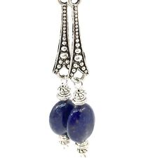 EARRINGS LAPIS blue beads, Tibetan spacer, Classic Style, Drop Dangle Handmade