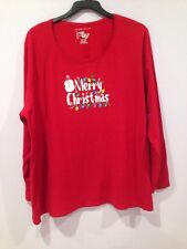 NWT JMS Just my Size Red Christmas Santa Holidays Shirt Top Blouse Plus Size 2X