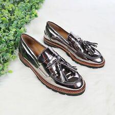 Stuart Weitzman Women's Manila Patent Leather Metallic Loafers Tassel - Size 7