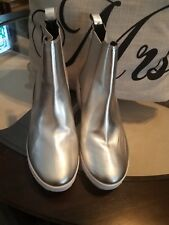 JEFFREY CAMPBELL Handmade Ibiza Last Silver And whiteAnkle Boots Size 7.5 M