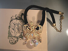"KIRKS FOLLY VERY RARE ""BLACK VELVET CORD W/FAIRY NECKLACE"" SIGNED & GORGEOUS!"