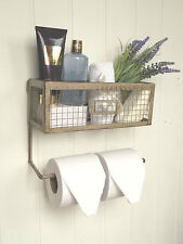 Shabby Chic Vintage French Toilet Roll Holder Storage Unit Rack Shelf Basket NEW