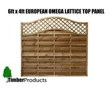 European Fence Panel 1.8m x 1.2m (6 x 4) Omega Decorative Lattice Top Tanalised