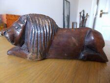Vintage  hand Carved hard wood African Lion