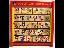 Vintage Disney Wood Flip Flop Alphabet Blocks Mickey Minnie Donald ABC Letters